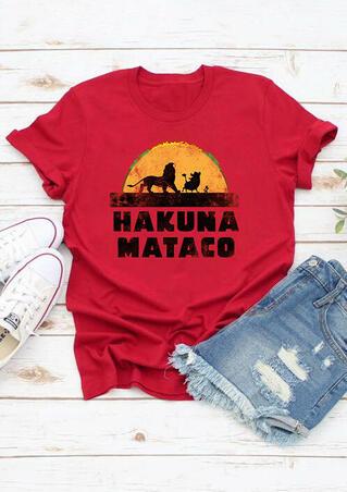 Hakuna Mataco O-Neck T-Shirt Tee - Red