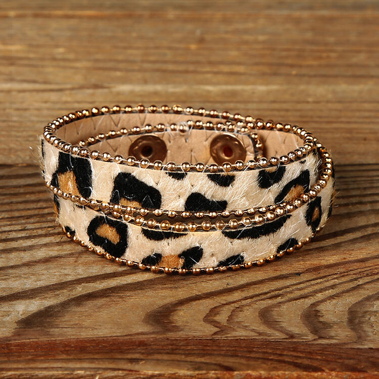 Fur Leopard Printed Button Layered Adjustable Bracelet фото