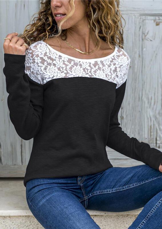 Lace Splicing Color Block Blouse without Necklace – Black
