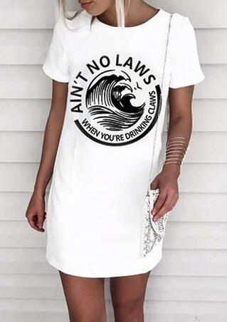 Ain't No Laws When You're Drinking Claws Mini Dress - White