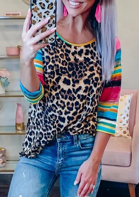 Tees T-shirts Leopard Serape Striped Splicing T-Shirt Tee in Leopard. Size: S,M,L,XL,2XL,3XL фото