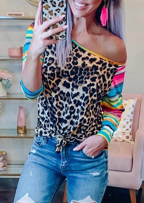 Leopard Serape Striped Splicing T-Shirt Tee