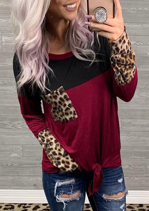 Leopard Printed Cuffs and Leopard Printed Pocket, Black Burgundy Color Block Long Sleeves T-Shirt For Women in Burgundy. Size: S,M,L,XL,2XL,3XL фото