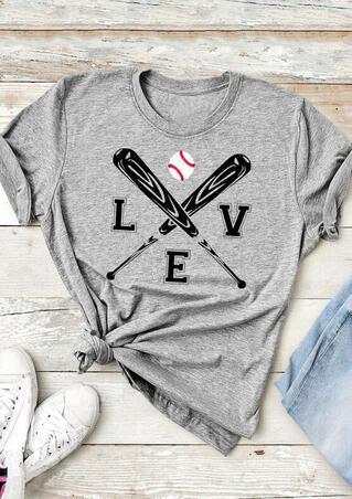 Love Baseball O-Neck T-Shirt Tee - Gray