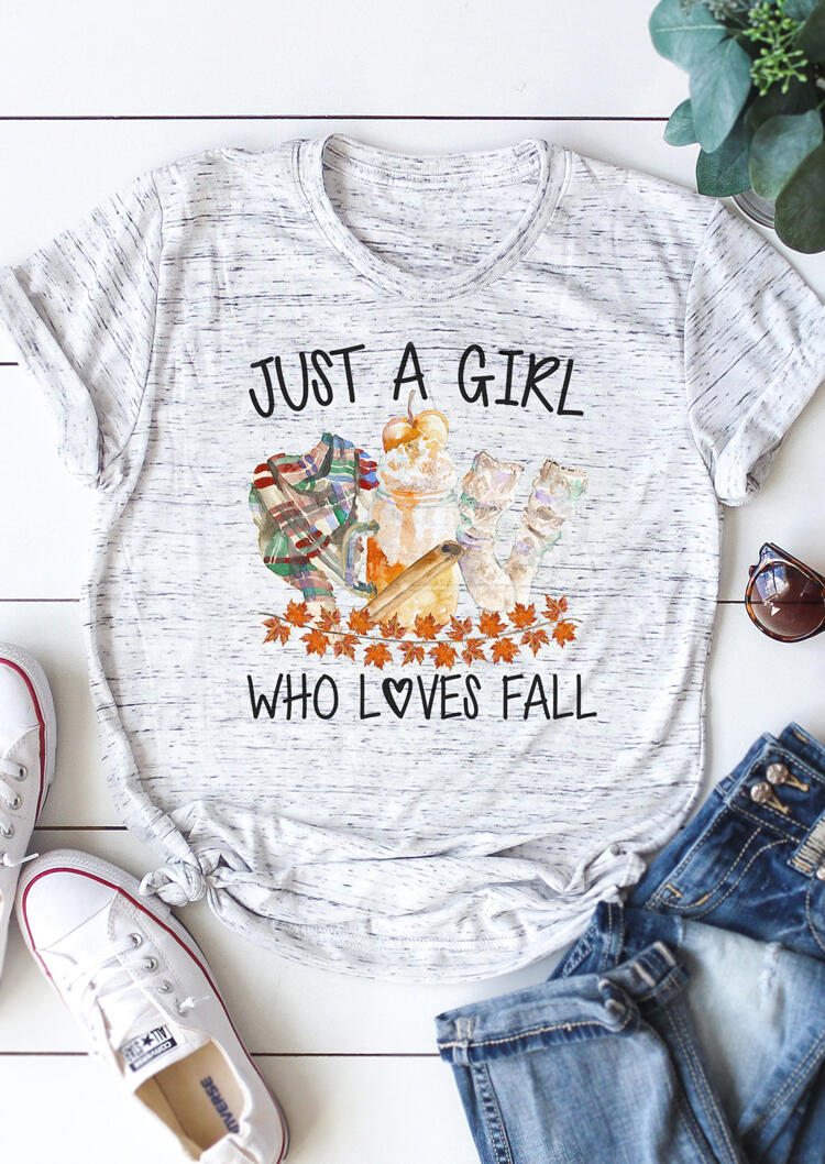 Just A Girl Who Loves Fall T-Shirt Tee – Light Grey