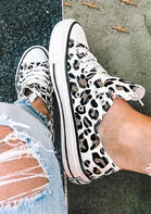 Leopard Printed Lace-Up Sneakers