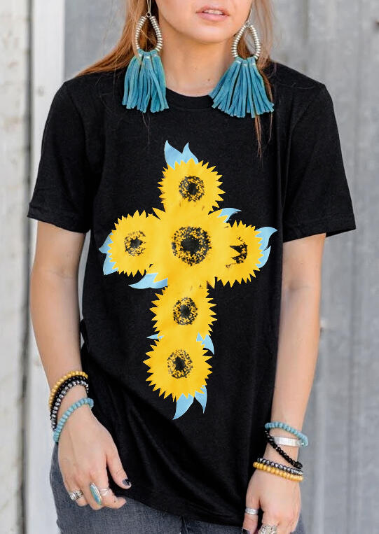 Sunflower O-Neck T-Shirt Tee – Black
