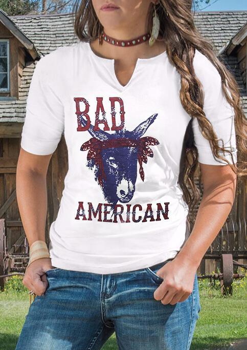 Bad American Donkey T-Shirt Tee without Choker – White