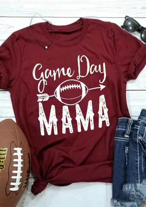 Game Day Mama Football T-Shirt Tee – Burgundy