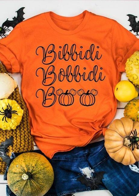 Tees T-shirts Bibbidi Bobbidi Boo Pumpkin T-Shirt Tee - Orange. Size: S,M,XL фото