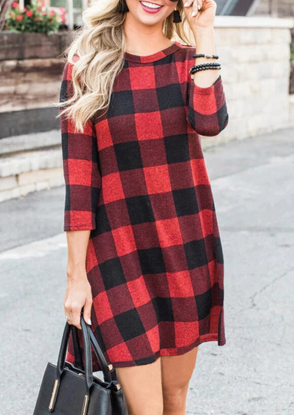 Mini Dresses Color Block Plaid Mini Dress in Plaid. Size: S,M,L,XL фото
