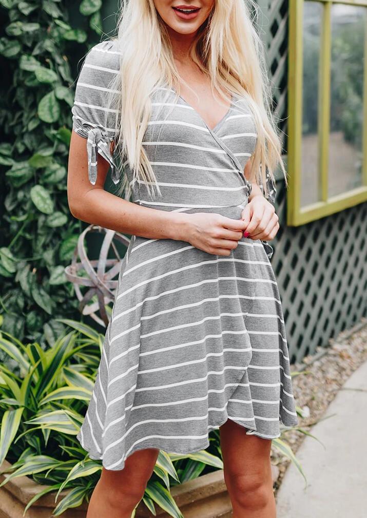 Striped Wrapped Tie V-Neck Casual Dress – Gray