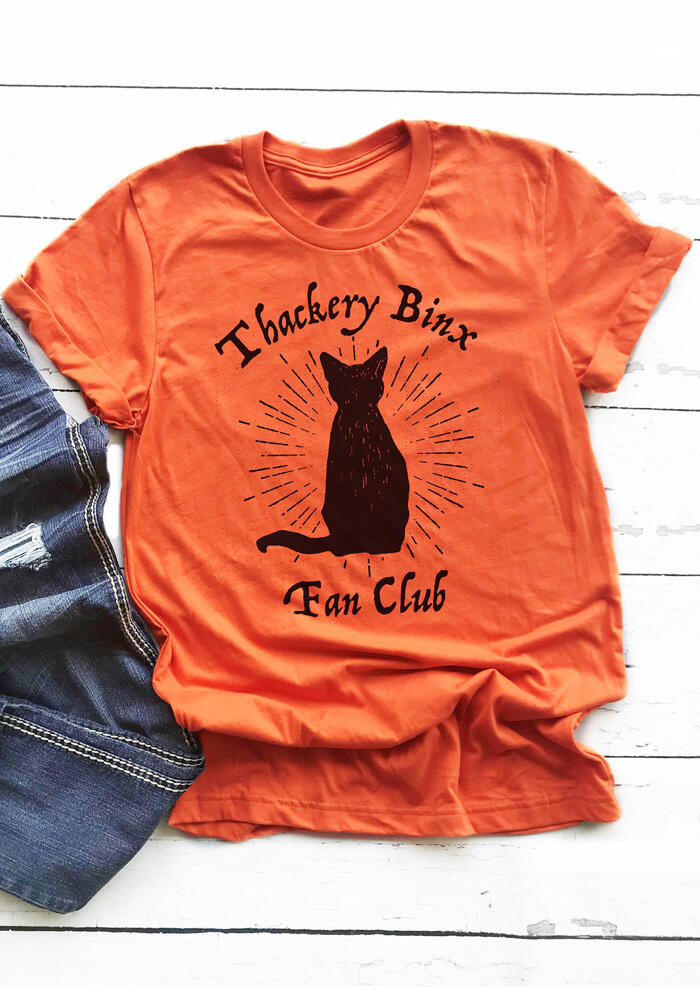 Thackery Binx Fan Club Cat O-Neck T-Shirt Tee – Orange