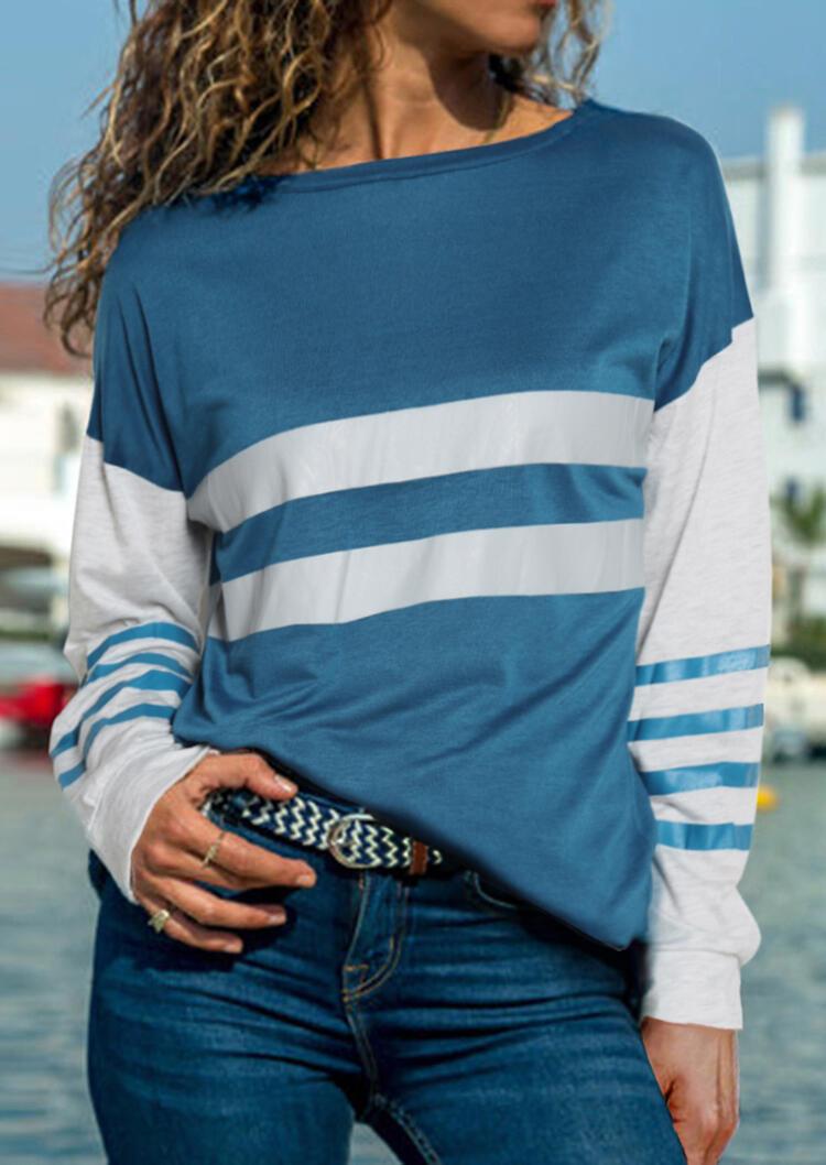 Striped Splicing Long Sleeve T-Shirt Tee – Blue