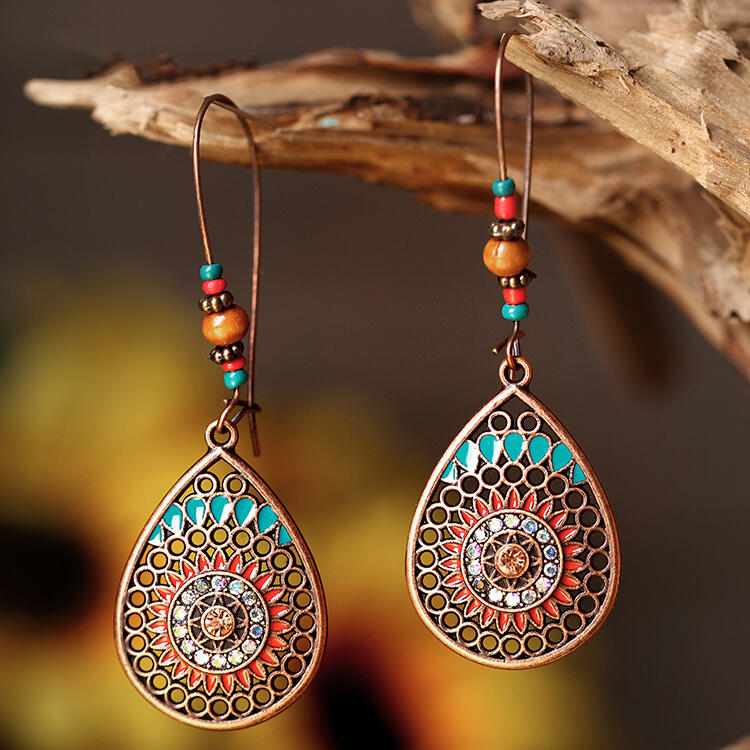 Bohemian Hollow Out Water Drop Vintage Earrings фото