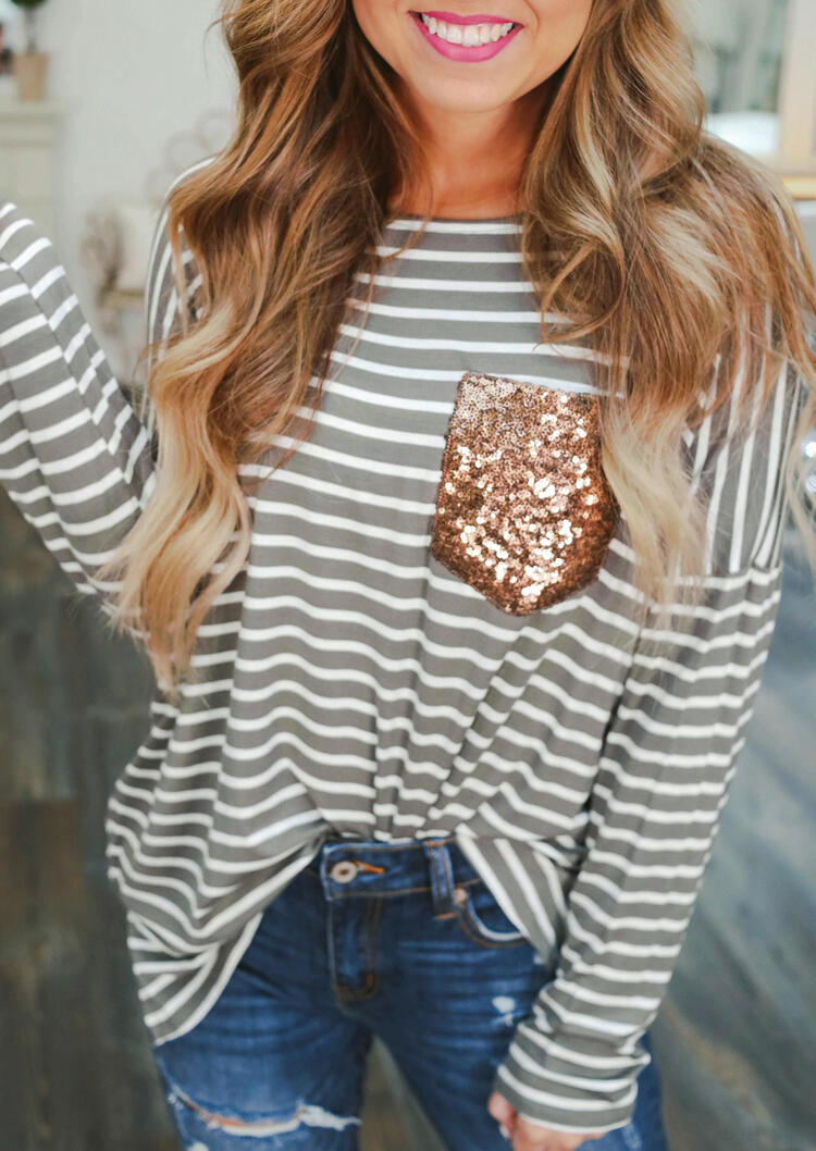Tees T-shirts Striped Sequined Pocket Long Sleeve T-Shirt Tee in Stripe. Size: S,M,L,XL фото