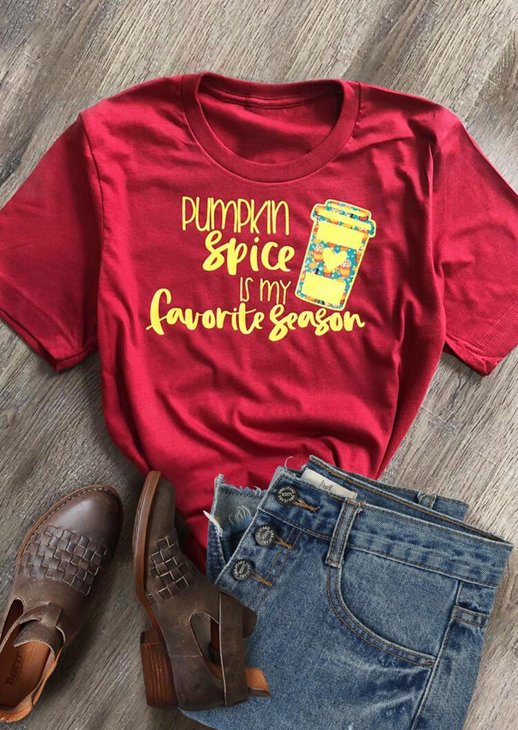 Pumpkin Spice Is My Favorite Season T-Shirt Tee – Red
