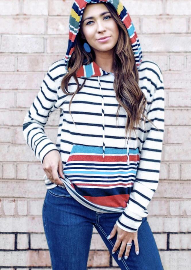 Striped Splicing Drawstring Pocket Hoodie – White