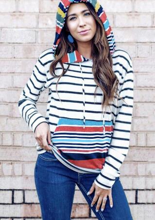 Striped Splicing Drawstring Pocket Hoodie - White