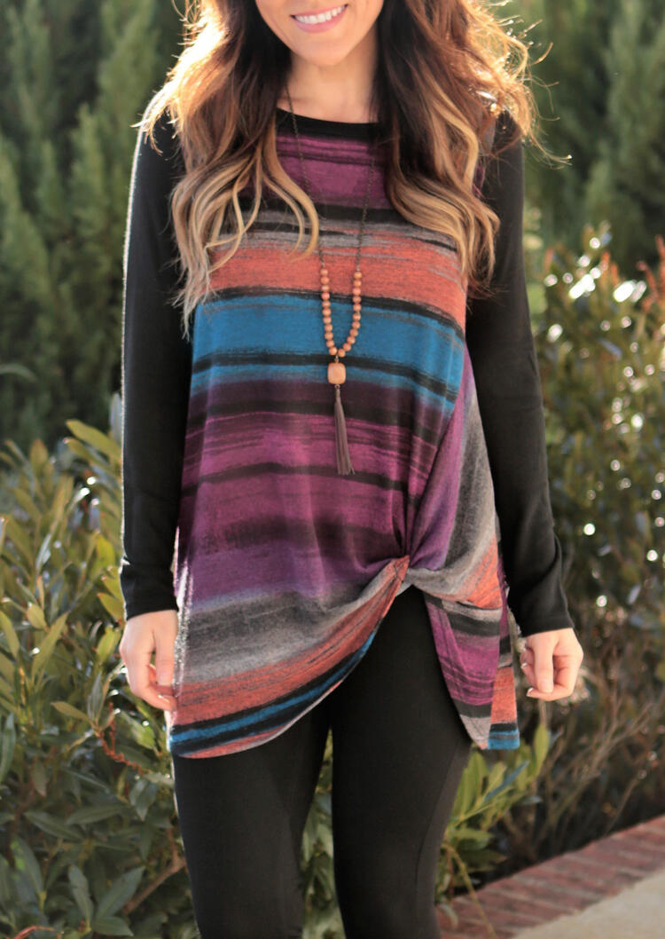 Colorful Striped Twist Blouse without Necklace