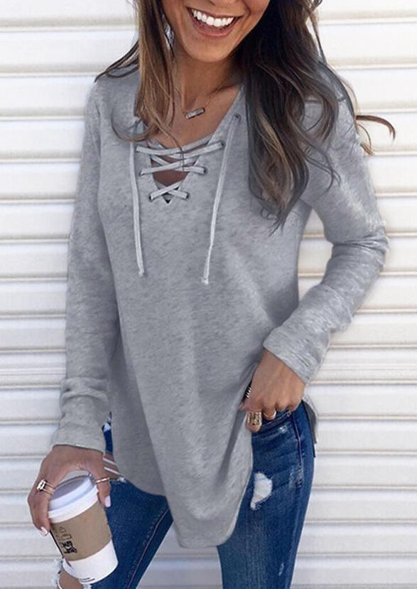 Solid Lace Up V-Neck Blouse without Necklace - Gray фото