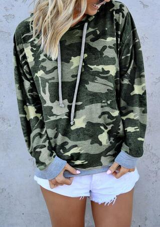 Camouflage Printed Long Sleeve Hoodie