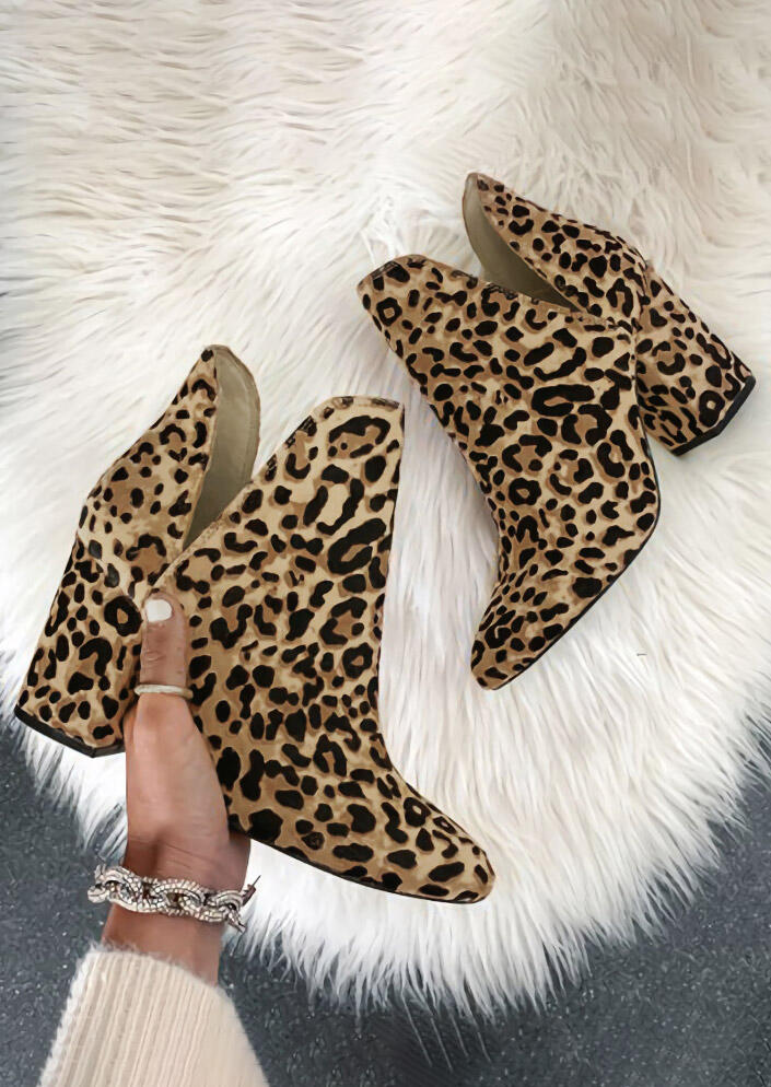 Leopard Chunky Heel Ankle Boots