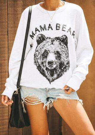 Mama Bear O-Neck Sweatshirt without Necklace - White