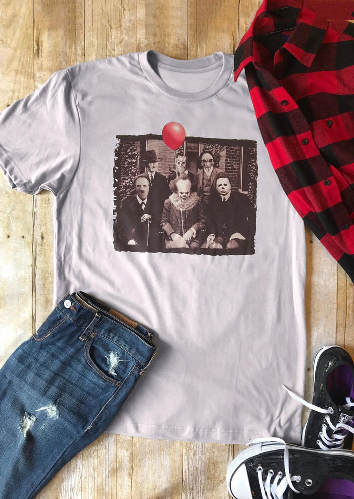 Horror Movie Character T-Shirt Tee – Light Grey