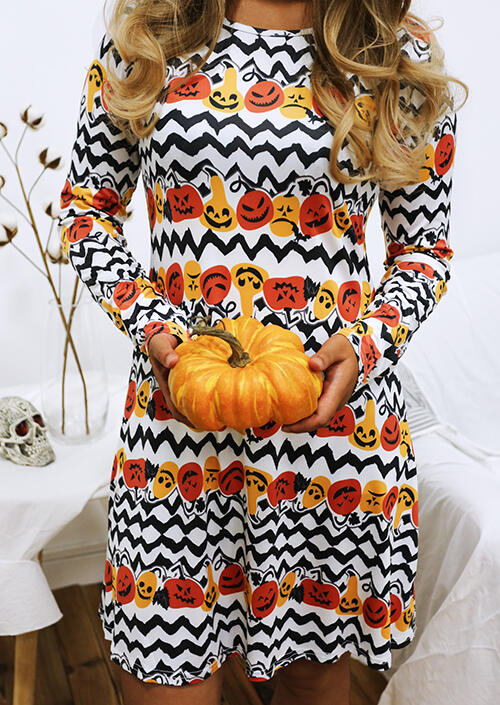Halloween Pumpkin Face Zigzag Mini Dress – Multicolor