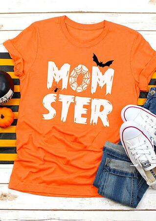 Halloween Momster Bat T-Shirt Tee - Orange