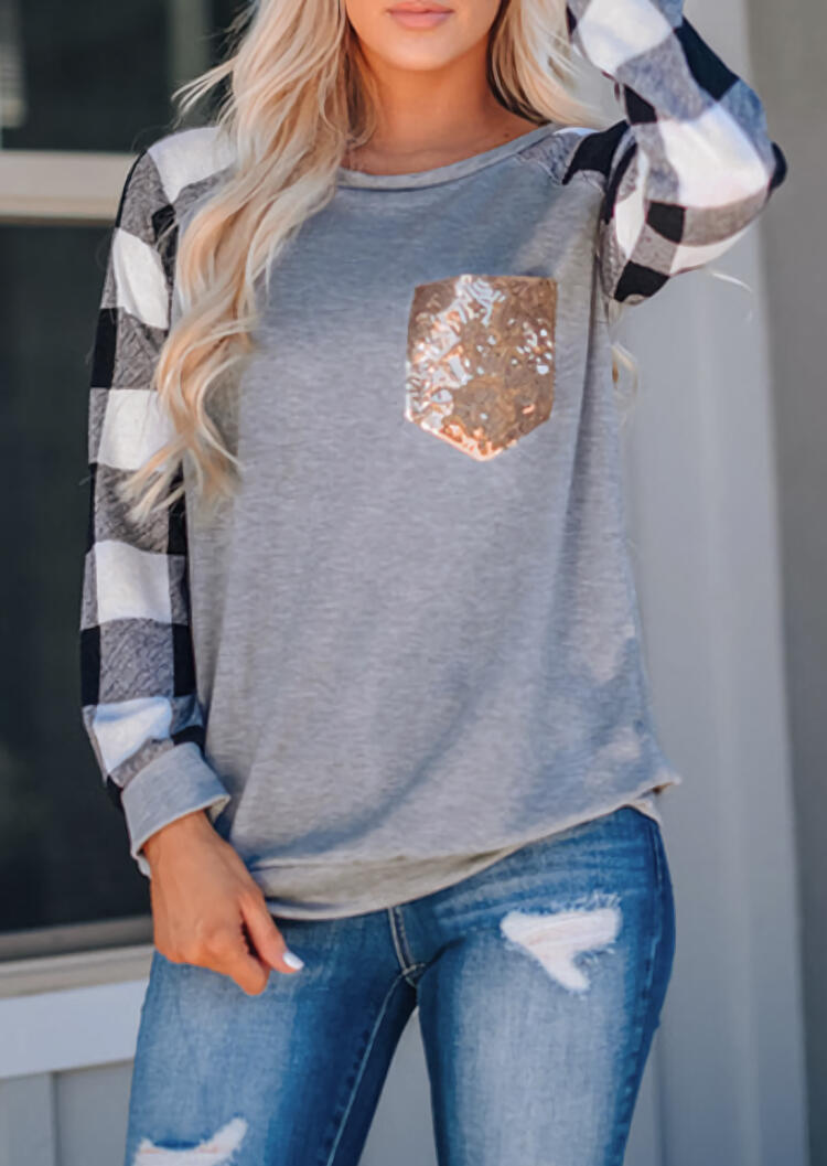 Plaid Splicing Sequined Pocket T-Shirt Tee – Gray