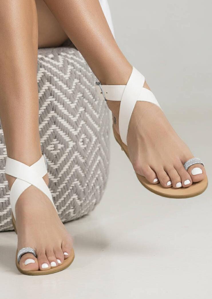 Summer Cross Buckle Strap Flat Sandals