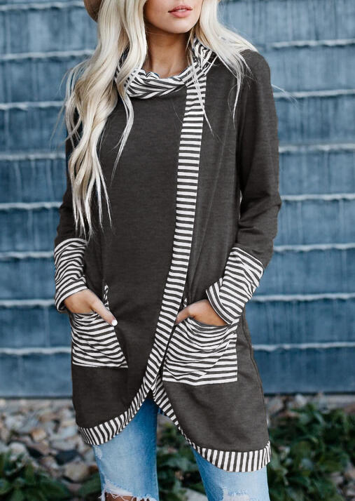 Striped Splicing Asymmetric Pocket Blouse - Gray фото