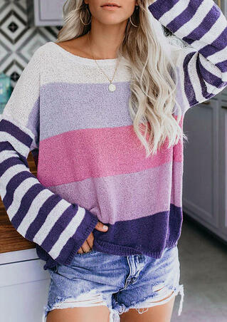 Striped Color Block Long Sleeve Sweater - Purple