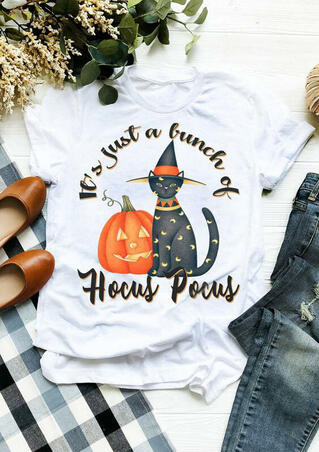 Halloween It's Just A Bunch Of Hocus Pocus T-Shirt Tee - White
