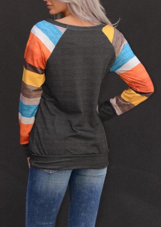 Color Block Striped O-Neck Blouse - Dark Grey