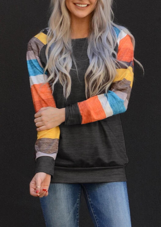 Colourful Color Block Striped Long Sleeves T-Shirt for Women in Dark Grey. Size: S,M,L,XL,XXL,XXXL фото