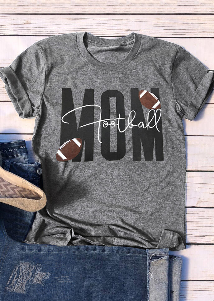Tees T-shirts Football Mom O-Neck T-Shirt Tee - Gray. Size: L,XL фото