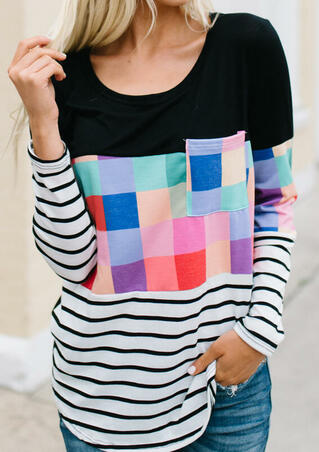 Colorful Plaid Striped Pocket Blouse - Multicolor