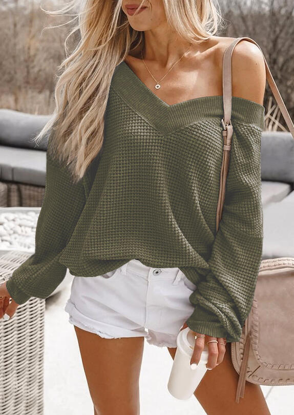 Long Sleeve Sweater Without Necklace - Army Green фото