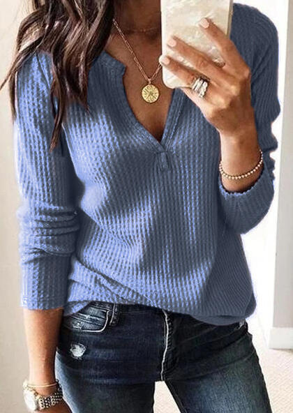 Solid Long Sleeve V-Neck Blouse without Necklace – Blue
