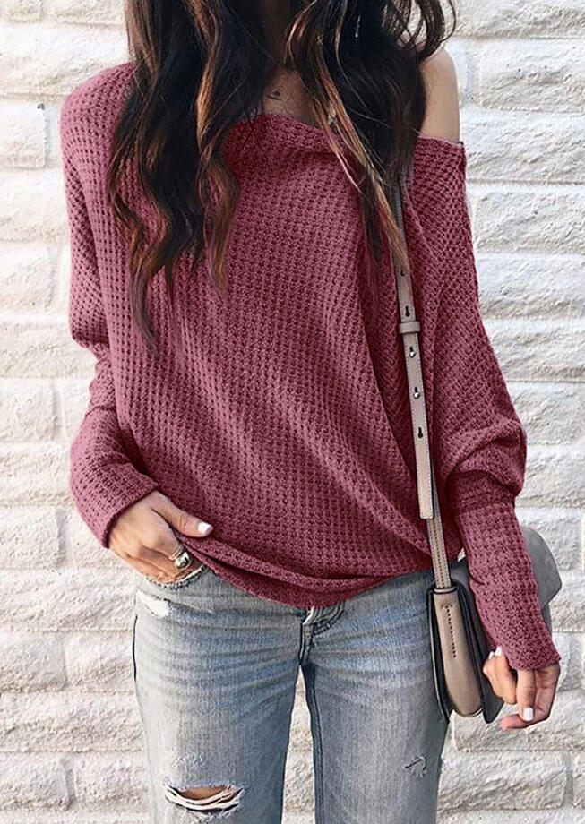 Solid One Shoulder Long Sleeve Blouse – Cameo Brown