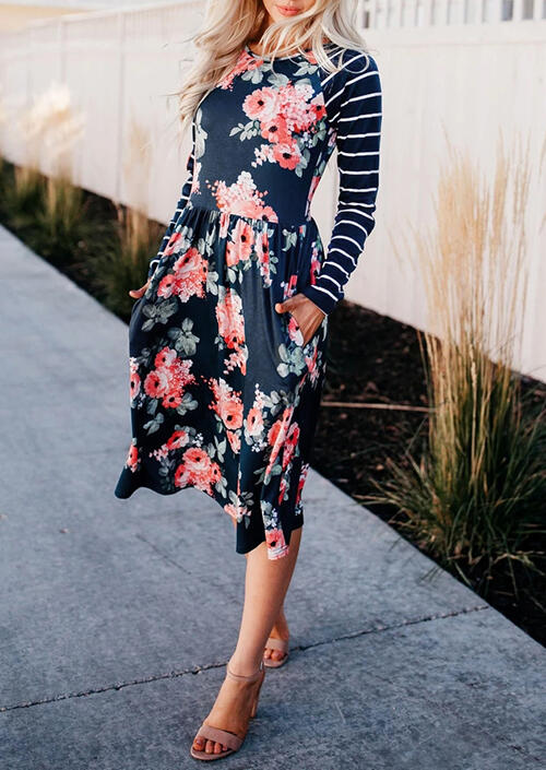 Floral Striped Pocket Long Sleeve Casual Dress – Navy Blue