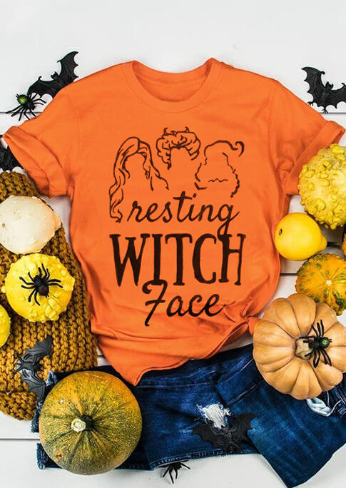 Halloween Resting Witch Face O-Neck T-Shirt Tee – Orange