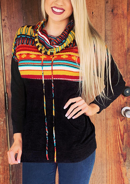 Striped Printed Drawstring Pocket Cowl Neck Sweatshirt – Black