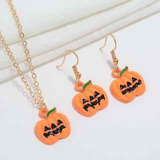 Halloween Pumpkin Ghost Pendant Necklace And Earrings Set
