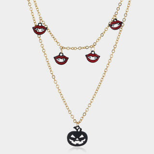 Halloween Pumpkin Elf Pendant Multi-Layer Necklace