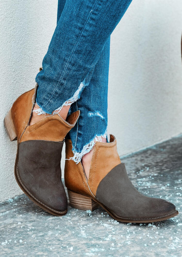 Color Block Round Toe Ankle Boots – Light Brown