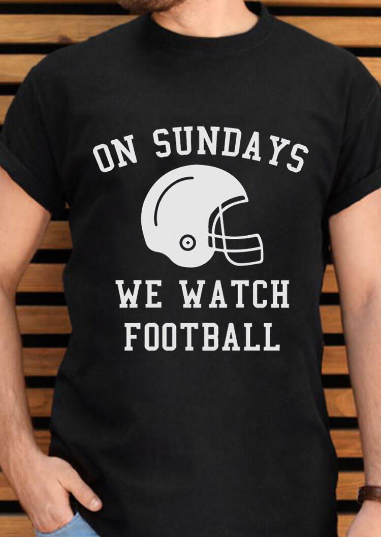Men's On Sundays We Watch Football T-Shirt Tee – Black